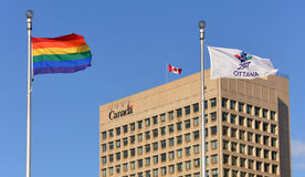 Gay Pride Flag at Ottawa City Hall during Sochi Royalty Free Stock Photography