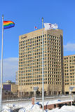 Gay Pride Flag at Ottawa City Hall to support Gay  Stock Photography