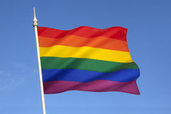Gay Pride Flag. The rainbow flag or gay pride flag, is a symbol of lesbian, gay, bisexual, and transgender pride. It originated in California, but is now used Royalty Free Stock Photography