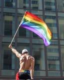 Man holding rainbow flag royalty free stock photos