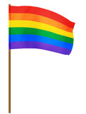 Gay Pride Flag Waving. Rainbow color striped flag waving in the wind to symbolize gay rights and equality Stock Photography
