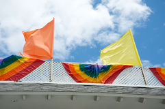 Gay pride flags. Rainbow gay pride flags on top of a building Royalty Free Stock Photo