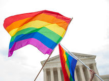 Gay Pride Flags at the U.S. Supreme Court. Gay pride flags flying at the U.S. Supreme Court stock images