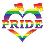 Gay Pride in Heart Shape and Arrows. Pride text in heart shape with gay flag stock illustration