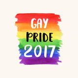 Gay pride 2017. Homosexuality emblem on a watercolor rainbow spectrum flag. LGBT rights concept. Modern parades poster, placard, invitation card design Royalty Free Stock Photo