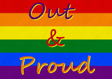 Gay Pride - I Am Out and I Am Proud. LGBT movement Rainbow Flag, stating the slogan Out & Proud - the call for openly assuming sexual identity stock illustration