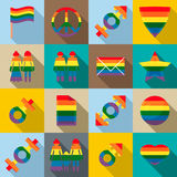 Gay pride icons set, flat style Royalty Free Stock Photo