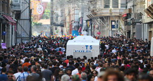 Gay Pride Istanbul. ISTANBUL, TURKEY - JUNE 28, 2015: LGBT Pride Istanbul was banned by the Istanbul Municipality, so police intervene in with tear gas and water Royalty Free Stock Photography