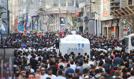 Gay Pride Istanbul. ISTANBUL, TURKEY - JUNE 28, 2015: LGBT Pride Istanbul was banned by the Istanbul Municipality, so police intervene in with tear gas and water Royalty Free Stock Image