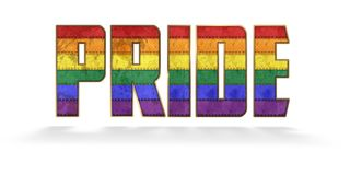 Gay Pride Lettering. Gay Pride Logo Lettering Metal Grunge Flag Rainbow Rustic Vintage Parade stock photography