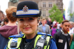 Gay Pride march 23 May 2015. Female police officer at Gay Pride march and rally in Birmingham England Royalty Free Stock Photos