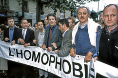 Gay Pride March, PARIS, France- , French Politi. PARIS, France-  the Gay Pride March, French Politicians, including Paris Mayor, Bertrand Delanoi, with Sign Royalty Free Stock Images