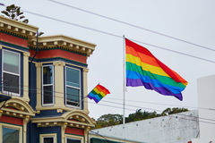 Gay Pride Movement flag on a street of San Francisco Royalty Free Stock Photo