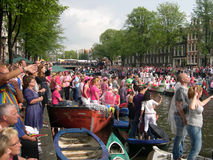 Gay Pride Parade Amsterdam. The crowd at the Gay Pride Parade held in Amsterdam in August 2011 Royalty Free Stock Photos