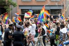 Gay Pride Parade Crowd Greenwich Village NYC Immagine Stock