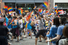 Gay Pride Parade Crowd Greenwich Village NYC Fotografie Stock Libere da Diritti