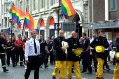 Gay pride parade in Manchester, UK 2010. Highlights of Manchester Pride (28.08.2010) - Firemen representation at the parade Royalty Free Stock Photos