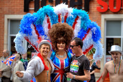 Gay pride parade in Manchester, UK 2011. Participants in costumes in Manchester at Gay Pride 2011. Manchester, England - 27.08.11 Royalty Free Stock Photos