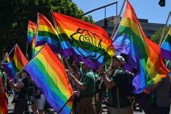 Gay Pride Parade Marchers in Portland, Oregon  2. These are marchers in a gay pride parade in Portland, Oregon with rainbow flags Stock Photos