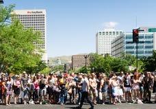 Gay Pride Parade in Salt Lake City, Utah. Salt Lake City, Utah, USA - June 7, 2015. The crowd watches the Salt Lake City, Utah Gay Pride Parade with the state Royalty Free Stock Photos