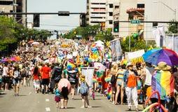Gay Pride Parade in Salt Lake City, Utah. Salt Lake City, Utah, USA - June 7, 2015. Marchers in the Salt Lake City, Utah Gay Pride Parade Stock Photos