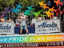 Gay Pride Parade in San Francisco - Corporate Alaska Airlines fl Stock Photography