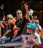 Gay Pride Parade in San Francisco - Mayor Gavin Newsom rides. SAN FRANCISCO, CALIFORNIA, JUNE 24, 2018: GAY PRIDE PARADE - Mayor Gavin Newsom rides stock photo