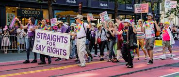 Gay Pride Parade in San Francisco - Straights for Gay Rights mar Stock Images