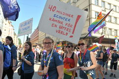 Gay Pride Parade 2013 in Stockholm. STOCKHOLM, SWEDEN - AUGUST 03: Scouts at Gay Pride Parade in Stockholm, Sweden, on August 03, 2013. It's the largest gay Stock Photo
