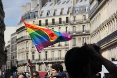 Gay Pride in Paris_June 24 2017. Pride parades known in French as `Marche des fiertés`  for the LGBT community are events celebrating lesbian, gay, bisexual Stock Photos