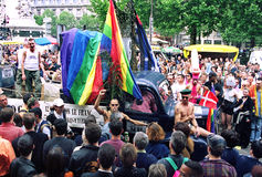 Gay Pride in Paris. Gay pride Parade in the street of Paris in France