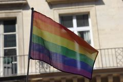 Gay Pride in Paris_Rainbow Flag_June 24 2017. Pride parades known in French as `Marche des fiertés`  for the LGBT community are events celebrating lesbian, gay Royalty Free Stock Photography