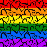 Gay pride rainbow colored hearts seamless pattern. Royalty Free Stock Images