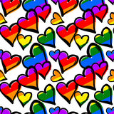 Gay pride rainbow colored hearts seamless pattern. Royalty Free Stock Photo