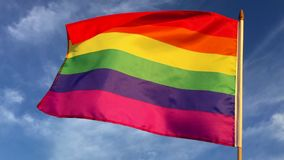 Gay Pride Rainbow Flag Blue Sky stock footage
