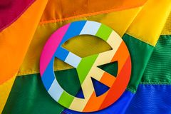 Gay pride. Rainbow Gay Pride flag with Peace sign royalty free stock photo