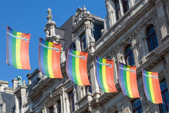 Gay pride rainbow flags in Antwerp, Belgium Stock Photography