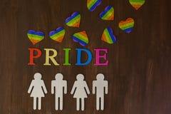 Gay pride. Rainbow Gay Pride sign on wood background stock image