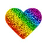 Gay Pride rainbow glitter heart. Colorful shiny background with sparks. Vector illustration in LGBT flag colors. Symbol Stock Images