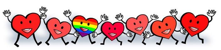 Gay Pride Rainbow Hearts Love Standout Valentine Design Foto de archivo
