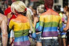 Gay Pride rainbow peace flag Stock Photo