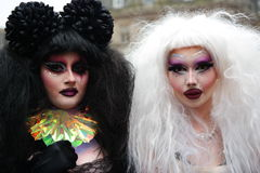 Gay Pride rally on 23rd May 2015. Two characters with heavy make-up and wigs at Gay Pride march and Rally in Birmingham England Stock Photo