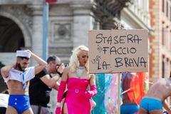 Gay Pride in Rome, Italy. Crowd of protesters in the square stock photo