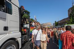 Gay Pride in Rome, Italy. Crowd of protesters in the square royalty free stock images