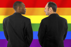 Gay Pride. Same-sex homosexual couple with a rainbow gay pride flag in the background Royalty Free Stock Photo