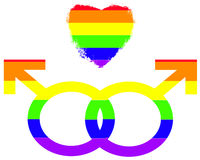 Gay Pride Symbols of Love. Symbols of love for two men Royalty Free Stock Photos