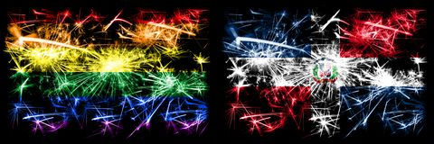 Gay pride vs Dominican Republic New Year celebration sparkling fireworks flags concept background. Abstract combination of two