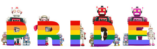 Gay pride. The word PRIDE with retro robot toys stock illustration