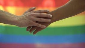Gay que frota ligeramente el fondo de la bandera del lgbt de la mano del socio, marcha del orgullo de la igualdad de las derechas almacen de video