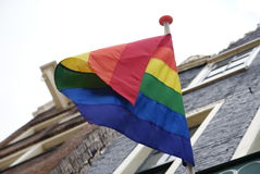 Gay rainbow flag. On some building Royalty Free Stock Photos